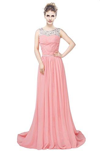 A Rückenfrei Chiffon Gerüscht engerla Line Kristall Träger Kleid Pailletten Ball Sheer Frauen Flamingo wRxYqYSf0