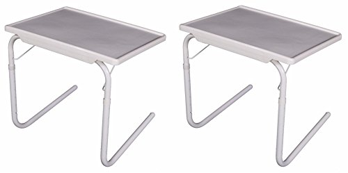 2pcs Smart White Mate Foldable Table Mate Useful Practical Folding Tablemate Adjustable Height Breakfast Bed Tray Laptop Holder Desk 20.07