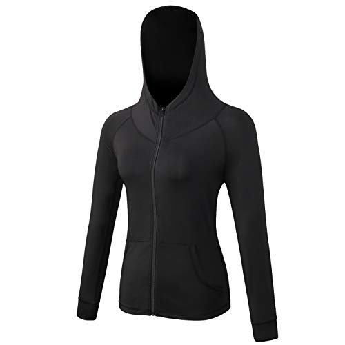 CamGo Petite Women's Yoga Running Jackets Full Zip Hooded Long Sleeves Training Coat with Thumb Holes Black