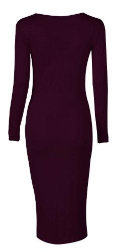 Fast Fashion Damen Langarm Ebene Bodycon Midi Maxi Dress (40/42, Maxi-purple)