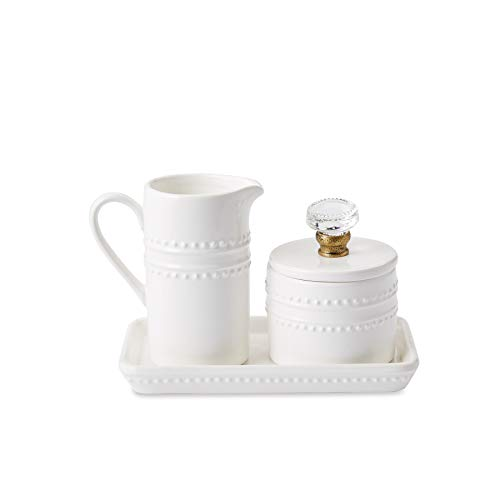 Mud Pie 47800002 Farmhouse Inspired Vintage Doorknob Cream and Sugar Set One Size White (Set Canister Collection)