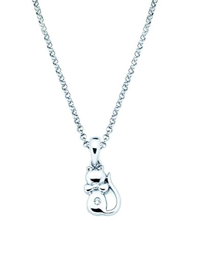 Diamond Accent Cat Pendant Necklace in 925 Sterling Silver, 16