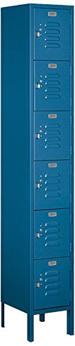 Locker Steel Standard (Salsbury Industries 66162BL-U Six Tier Box Style 12-Inch Wide 6-Feet High 12-Inch Deep Unassembled Standard Metal Locker, Blue)