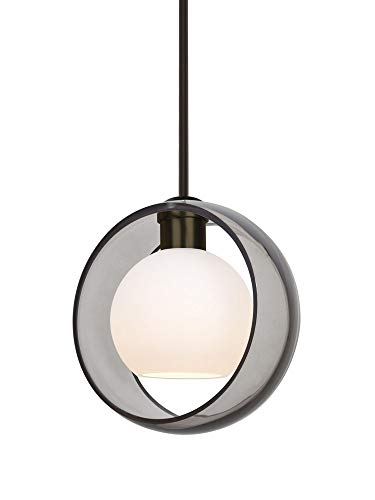 Besa Lighting 1TT-MANASM-BR Mana - One Light Stem Pendant with Flat Canopy, Bronze Finish with Smoke/Opal Glass (Light Br Pendant 1 Stem)