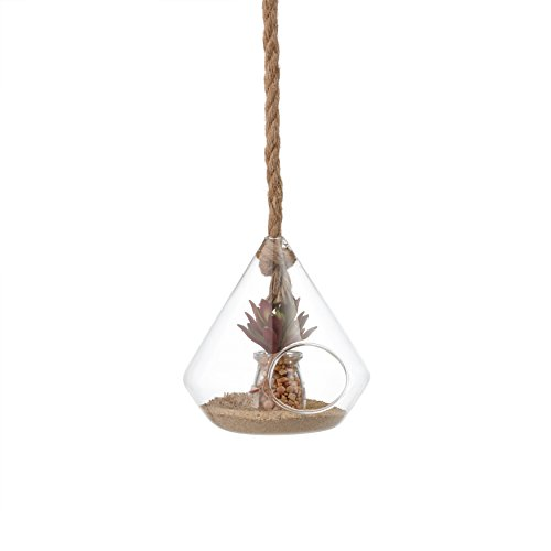 - 8 in. Diamond Shape Hanging Planter with Rope