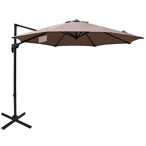 Sundale Outdoor 10ft Sunbrella Fabric Offset Hanging Umbrella Market Patio Umbrella Aluminum Cantilever Pole with Crank Lift, Corss Frame, 360°Rotation, for Garden, Deck, Backyard (Camel) ()