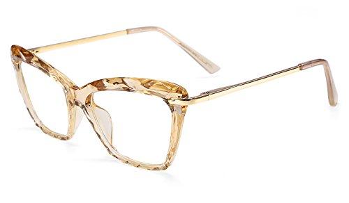 Womens Optical Eyeglass Frame - FEISEDY Cat Eye Crystal Optical Eyewear Non Prescription Eyeglasses Frame for Women B2440