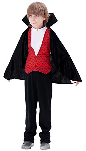 Boys Dracula Transylvania Vampire Count Costume, King of Bloodsucker Cape Dress up for Halloween Party