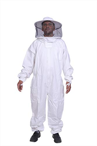 BeeAttire Bee Suit with Round Hood - Cotton Thick Sting-Less Protection Pro Beekeeper Suit Beekeeper Costume Adult bee Keeper Costume Beekeeping Suit bee Keeper Suit YKK Zippers (3XL)]()