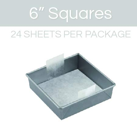 The Smart Baker 6 inch Square Perfect Parchment Paper - 24 Pack Pre-cut Parchment Sheets for Cake Pans.As Seen on Shark Tank Baking Sheets