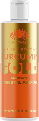 (PuraTHRIVE Curcumin Gold Liposomal Curcumin Supplement with DHA and Ginger Oil by PuraTHRIVE. Micelle Liposomal Delivery for Maximum Absorption. Vegan, GMO Free, Made in The USA.)