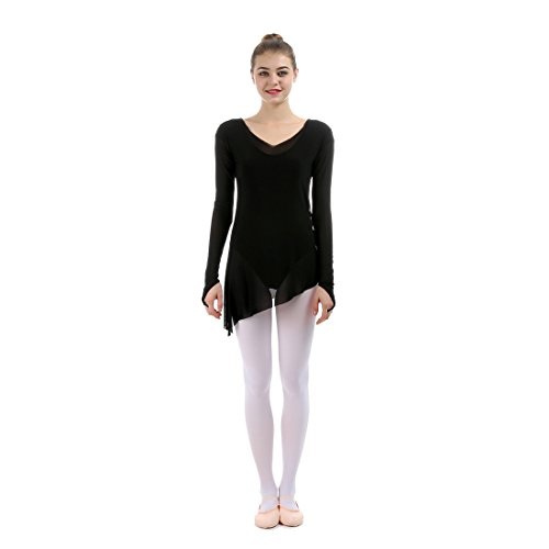 Costume Salsa Danse (iMucci Sexy Long Sleeve V Neck Women Ballet Blouse GYM Suit Overalls Round O Neck Midium Sleeve Gauze blouses)
