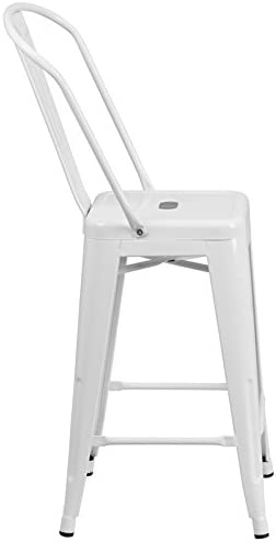 EMMA OLIVER 24 H White Metal Indoor-Outdoor Counter Height Stool w Back