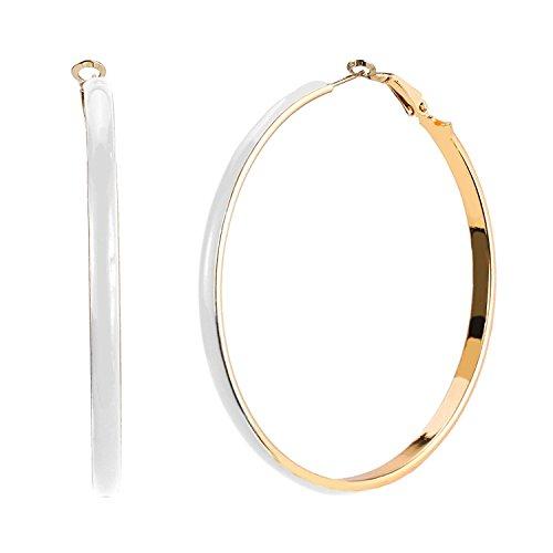 JewelrieShop Women Girl Big Enamel Hoop Earrings with Rose Gold Tone Plated, Nickel-free Stainless Steel Pin - Enamel Pin Earrings