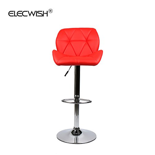 Elecwish Bar Stools Set of 2 White PU Leather Seat with Chrome Base Swivel Dining Chair Barstools (Red 2pcs) by Elecwish (Image #7)