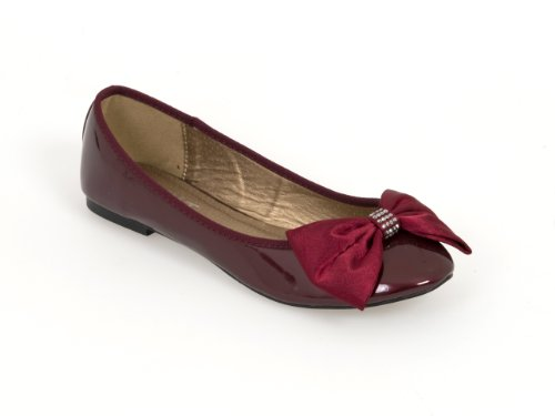 Womens Ballerina Diamond Trim and Satin Bow - Colours: Black, Burgundy and Nude Burgundy