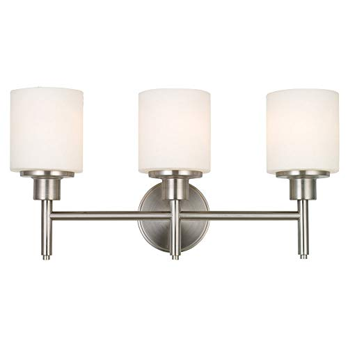 Design House 556209 Aubrey Transitional 3 Indoor Bathroom Vanity Light Dimmable Frosted Glass for Over The Mirror, Satin Nickel, 3-Light Light from Design House