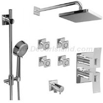 Riobel ¾ â€TMâ€TM double coaxial thermostatic pressure balance system with hand shower rail 4 body jets and shower head KIT#483ZOTQC - Kit Riobel