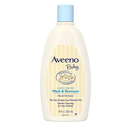 Aveeno Baby Gentle Wash & Shampoo with Natural Oat Extract, Tear-Free &, Lightly Scented, 18 fl. ()