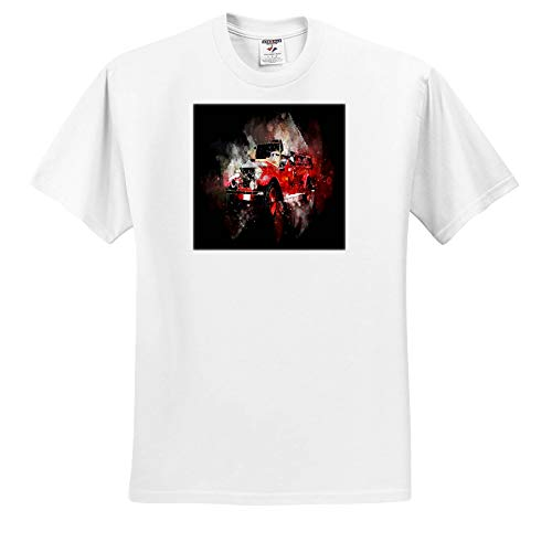 (Lens Art by Florene - Watercolor Art - Image of Watercolor of Antique Fire Truck and Its Reflection - T-Shirts - Youth T-Shirt XS(2-4) (ts_306888_11) White)