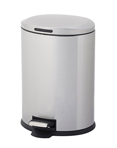 Home Zone Va40913A Stainless Steel Oval Step Trash Can, 12L, Silver (Hands Can Trash Free)