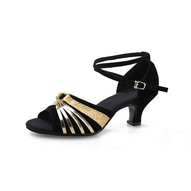 XIAMUO Nicht anpassbar - Die Frauen tanzen Schuhe Leder/Lack Leder Leder/Lackleder Latin Heels kubanischen HeelIndoor/Performance/, Blau, Us7.5/EU38/UK5.5/CN 38