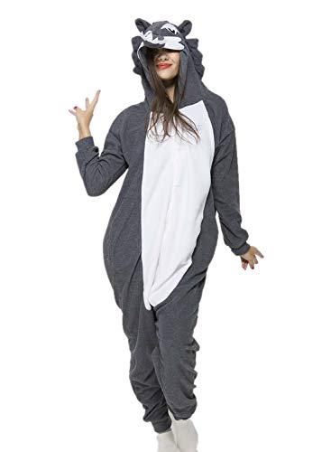 Unisex Animal Halloween Timber Wolf One-Piece Pyjamas Jumpsuit Cosplay Costumes Adult Womens Men Small -
