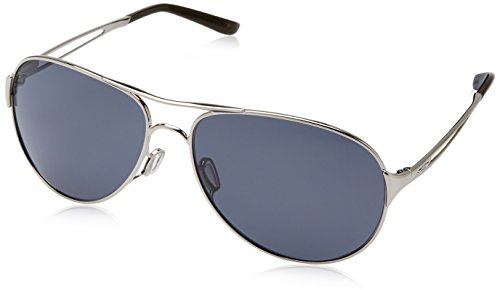 Oakley Women's Caveat Aviator Sunglasses,Polished Chrome Frame/Grey Lens,One Size