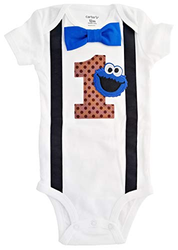 Perfect Pairz Baby Boys 1st Birthday Outfit Cookie Monster Bodysuit]()