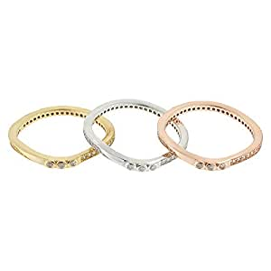 Aurora Women's Silver Rose Gold and White Ring