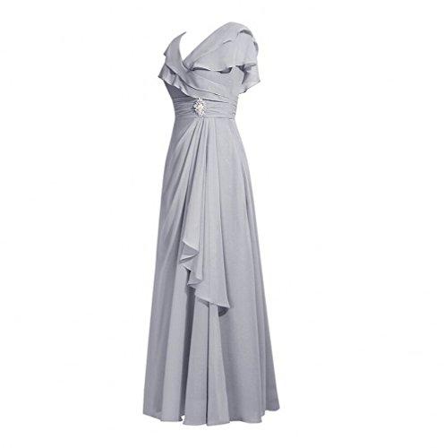 Robe Mousseline De Soie De Bal Une Ligne Beauté Ak V-cou Féminin Mère De Robes De Mariée Ivoire