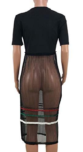 Jaycargogo Femmes Court Lettre Manches Été Imprimé Coutures Maille Robe Chemise Noire