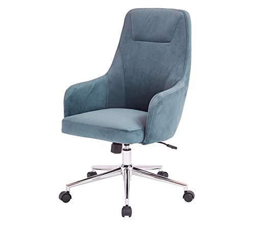 - Premium Marigold High Back Desk Chair with Wraparound Arms and Chrome Base, Atlantic Blue Velvet