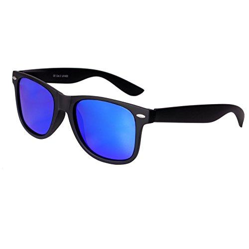 Nerd Sunglasses Matt Rubber Style Retro Vintage Unisex Glasses Spring Hinge Black - 24 Different Models (Black-Blue, - Vintage Ray Bans