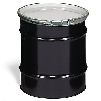 New Pig DRM834 Quick-Style Open-Head UN Rated Unlined Steel Drum, 16 Gallon Storage Capacity, 14-1/4'' Diameter x 27-1/4'' Height, Black/White