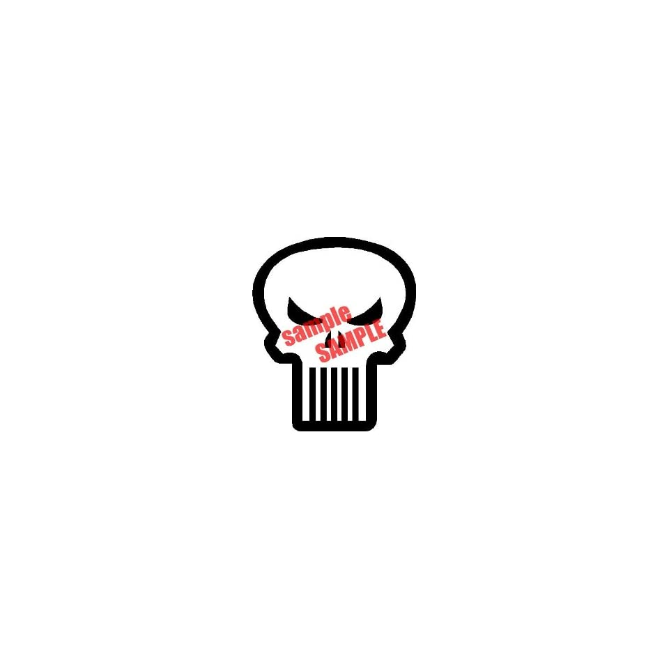 PUNISHER SKULL OUTLINE WHITE VINYL DECAL STICKER