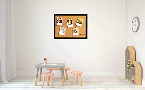 Wood Frame Cork Board Bulletin Board 24 x 18, Mounting Hardware, Push Pins Included by gideal (Image #2)