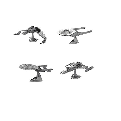 (Metal Earth 3D Model Kits - Star Trek Set of 4 - USS Enterprise NCC-1701D - Klingon Vor'Cha Class - Klingon Bird-of-Prey - USS Enterprise)