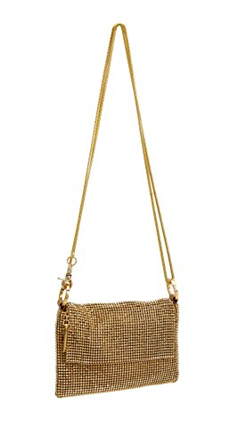 (Whiting & Davis Women's Pyramid Mesh Cross Body Bag, Gold, One Size )