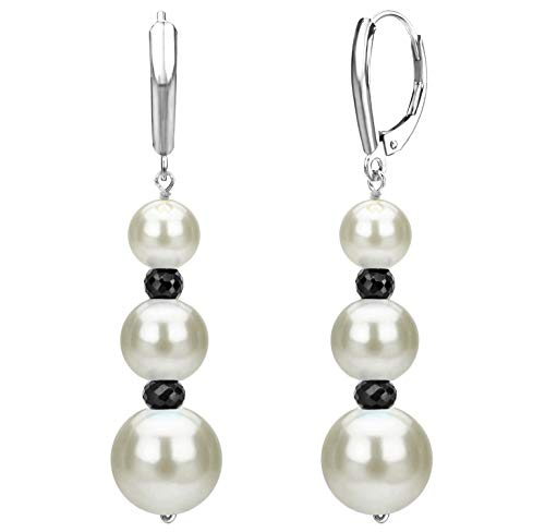 Graduated Freshwater Cultured White Pearl and Simulated Black Onyx Lever-back Earrings in 14k White Gold