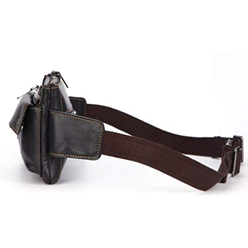 Bolsa Vaca Multifunción 2way color Black Houyazhan Cuerpo West De Cintura Cuero Hecho Hombres Brown Pouch dwqxCa