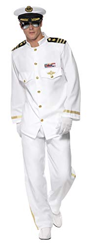 Smiffys Men's Captain Deluxe Costume with Jacket Trousers Cap and Gloves, White, Large