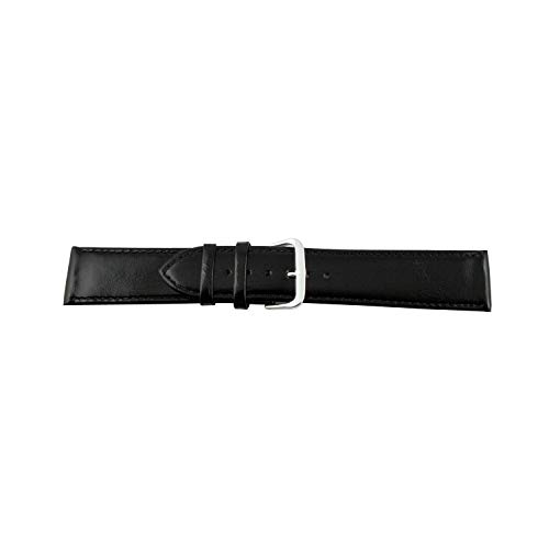 MapofBeauty Unisex 12mm/14mm/16mm/18mm/20mm/22mm Genuine Leather Business Style Watch Strap (Black Strap) by MapofBeauty (Image #3)