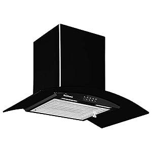 Sunflame 60 cm 1100 m³/hr Curved Glass Kitchen Chimney (BELLA 60 BK, 1 Baffle Filters, Black)