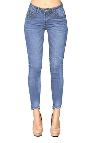 Blue Age Women's Ripped Hem Stretch Skinny Jeans (JP3001A_Light_1) (Color Ripped Skinny Jeans)