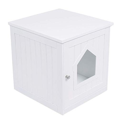 Hiding Litter Box Decorative Multi-Functional Cat House & Side Table Nightstand Indoor Pet Crate Litter Box Enclosure Decorative Pet Furniture Adds a Warm and Handsome Design to Any Room White