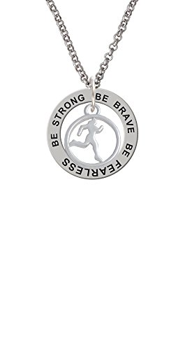 (Runner Silhouette in 1/2'' Disc - Be Strong Brave Fearless Affirmation Ring Necklace)