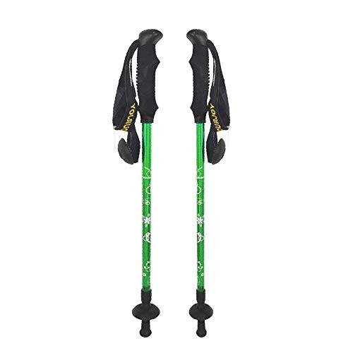 YOURJOY 2 Pack Children Climbing Trail Trekking Hiking Poles Ultralight 3 Sections Aluminum Alloy with mud Basket Rubber Cap (Green) ()