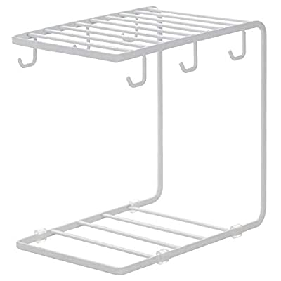 7U Metal Coffee Mug Cup Holder Organizer Stand for Cabinet, Counter, Desk | Kitchen Drying Display Rack with 6 Hooks for Large Mug - 9.5 x 9.1Inch