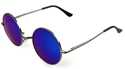 ShonanM Lennon Style Round Retro Sunglasses (Dark Grey, Green) (Large Lennon Style Sunglasses)